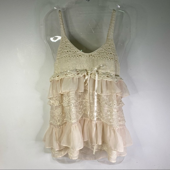 Forever 21 Boho style crocheted lace Tank Top XL